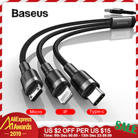 Baseus 3 in 1 USB Cable for iPhone Xr 8 11 Pro Fast Charger USB Type Cable C Micro Cable USB Cabo Phone Charging Cord for Huawei