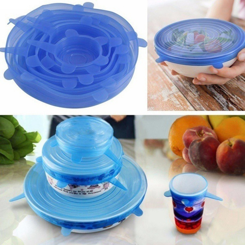 Hot Sale 6pcs/set Kitchen Reusable Silicone Food Storage Wrap Microwave Bowl Seal Cover Stretch Lid Kitchen Gadget blue|Saran Wrap & Plastic Bags| |  - title=