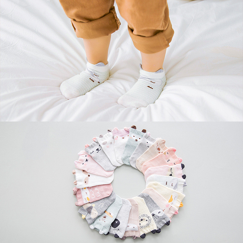 5 Pairs/ Lot 0 To 24M Cute Animal Baby Socks Summer Infants Mesh Short Socks Newborns Thin Combed Cotton Socks For Boys Girls