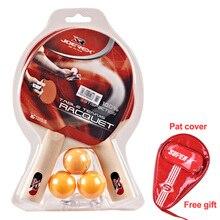 Joerex 5 Star Pingpong Racket set 2 Rack 3 Ball table tennis racket with rubber paddle Long handle tennis table rack offensive стоимость