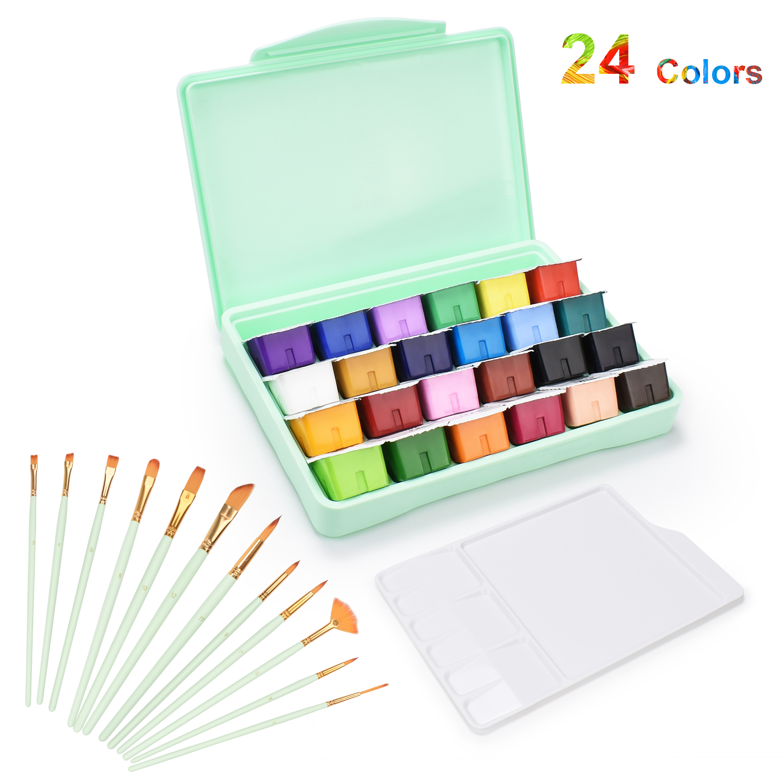 MIYA 24 Colors Gouache Paint Set Watercolor Paints 30ml Jelly Cup Design With Palette Paint Brushes For Artists Students