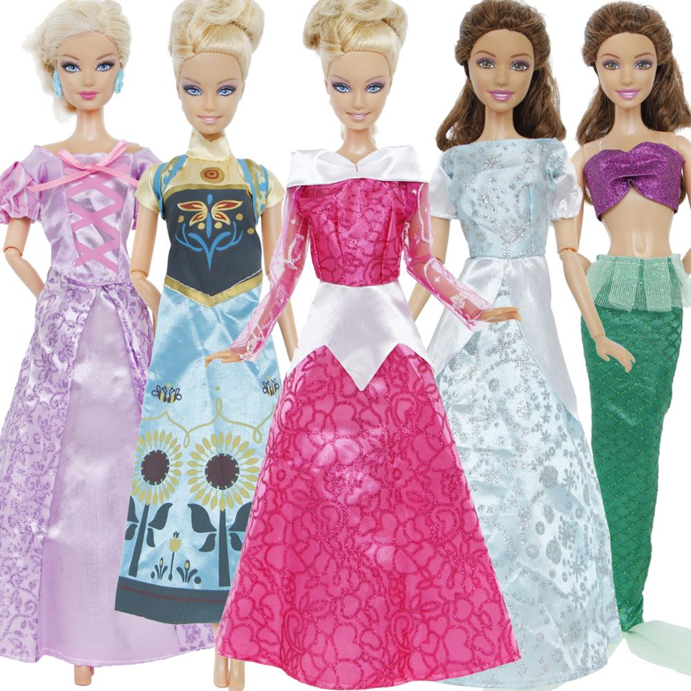 Fashion 5 Pcs/Lot Fairy Tale Dress Wedding Party Gown Princess Outfit Cosplay Clothes For Barbie Doll Accessories Baby DIY Toy