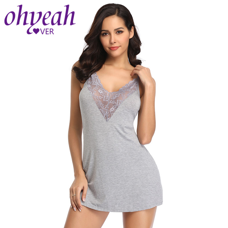 Ohyeahlover Nighty For Ladies Backless Lingerie Sleepwear V Neck Night Gowns Plus Size Lace Babydoll Cotton Nightdress RL80729Nightgowns & Sleepshirts   -