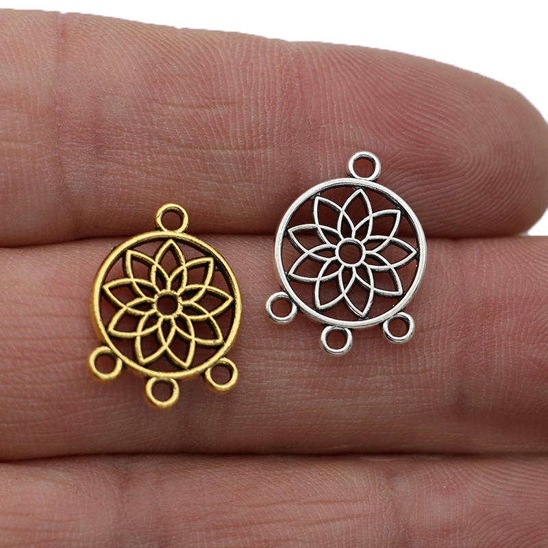20pcs Antique Silver Plated Dream Catcher Charms Pendants for Jewelry Making Earrings DIY Accessories 19x14mm