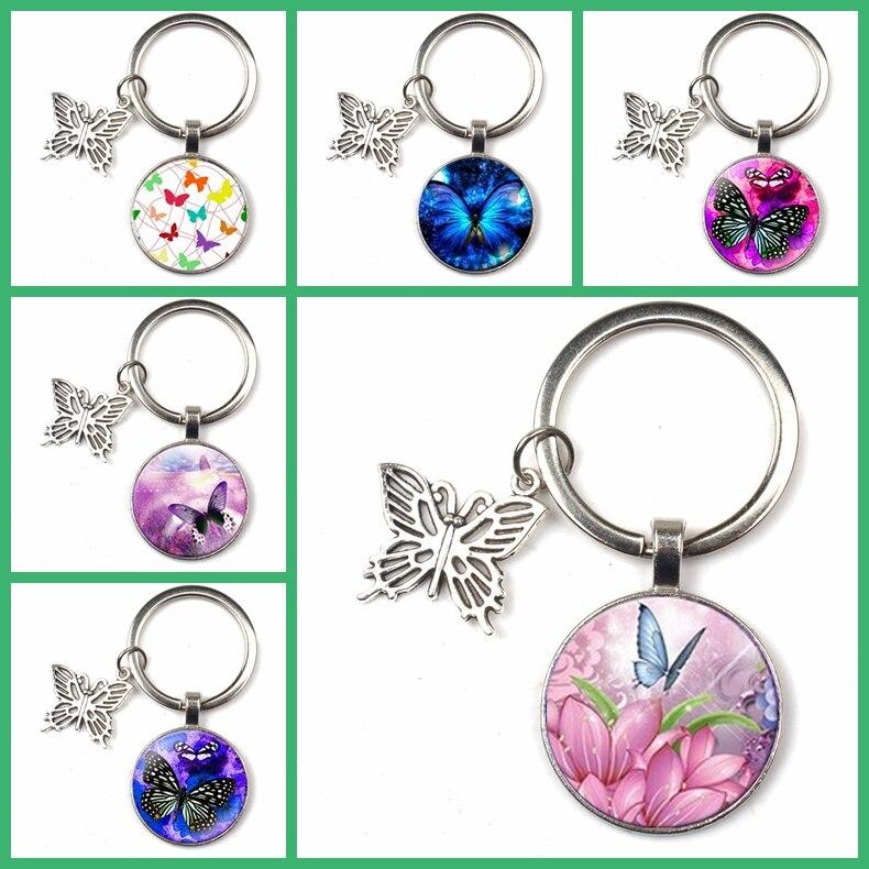 New Creative Keychain Butterfly Flower Pattern Key Ring Glass Pendant Female Fashion Jewelry Quality Bag Car Charm Key Chain Kid