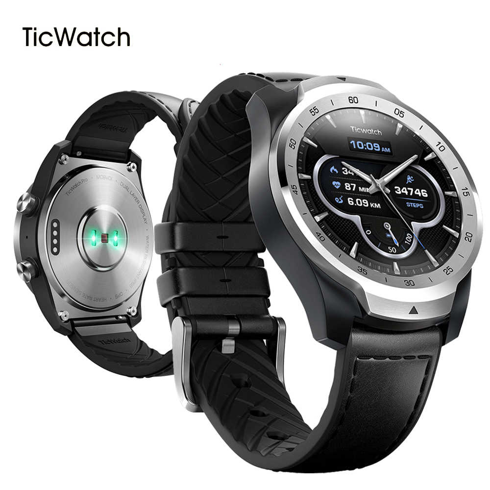 Ticwatch Pro Bluetooth Smart Watch IP68 Tahan Air Dukungan Pembayaran NFC/Google Asisten Google 415M Ah Smartwatch Pria