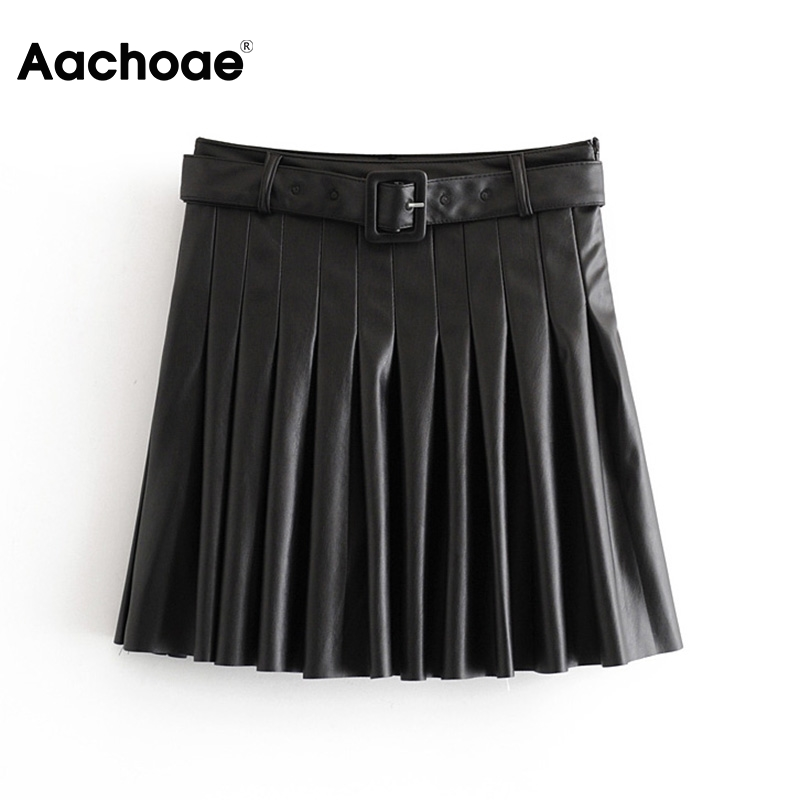 Aachoae Black PU Leather Skirt With Belt Women High Waist Pleated Skirts Side Zipper Solid A Line Mini Skirt Faldas Mujer