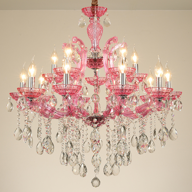 E14 LED Modern Iron Crystal Glass Pink Blue Art Deco Chandelier Lighting Lustre Suspension Luminaire Lampen For Dinning Room