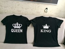 KING QUEEN Letter Printed Black Tshirts