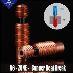 Image 2 - Mellow NF V6 Zone Heat Break Copper & Aerospace Materials 3D Printer Nozzle Throat For 1.75mm E3D V6 HOTEND Heater Block