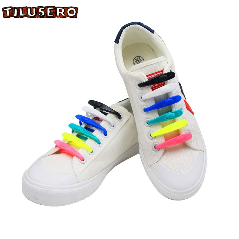 14pcs/set No TIE Lacing System Silicone Shoelace Elastic Shoelaces For Adults/Kids Running No Tie Shoes Accessories Z006