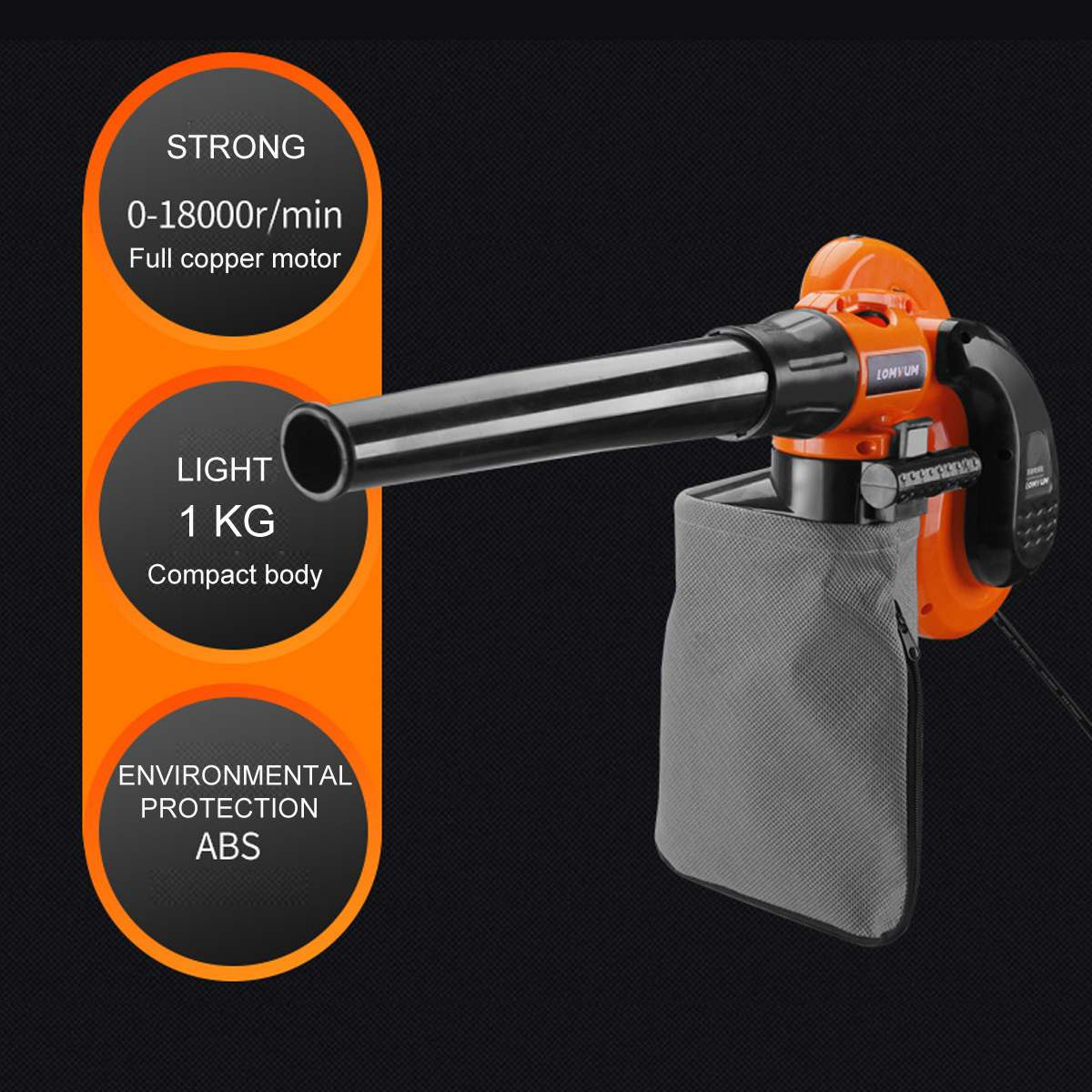1000W Air Leaf Blower Electric Air Blower Vacuum Cleaner Blowing Dust Collecting 2 In 1 Computer Dust Collector Cleaner