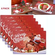 6PCS Feriado Do Natal Coloque tapetes Anti-slip-resistente ao Calor Copo Coasters Mesa Tapetes de Mesa para Restaurante Do Hotel decorações(China)