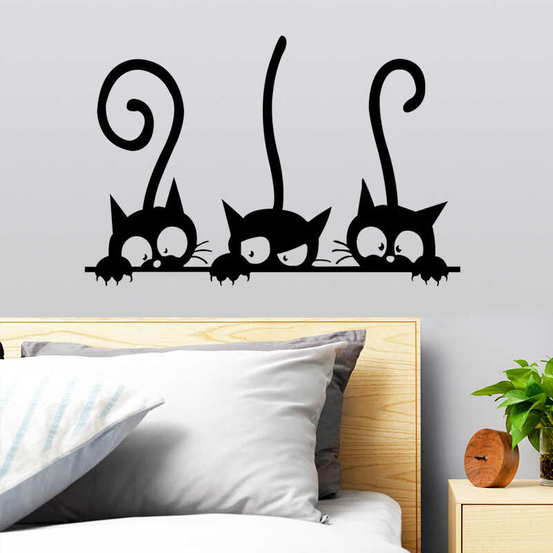 Black Cat Wall Sticker Art Home Decor Removable Living Room Mural Decal DIY LD