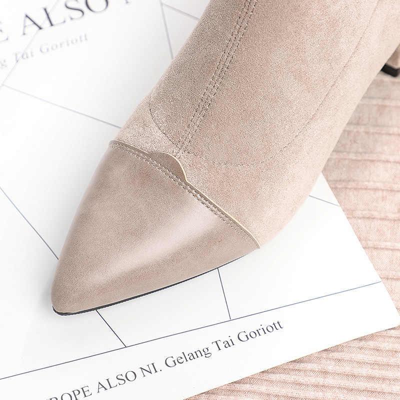 נשים מגפי קרסול קצר מגפי פלוק מחודד הבוהן כיכר עקבים חורף קטיפה נעלי אישה 2019 להחליק על מגפי מרטין שחור בז'