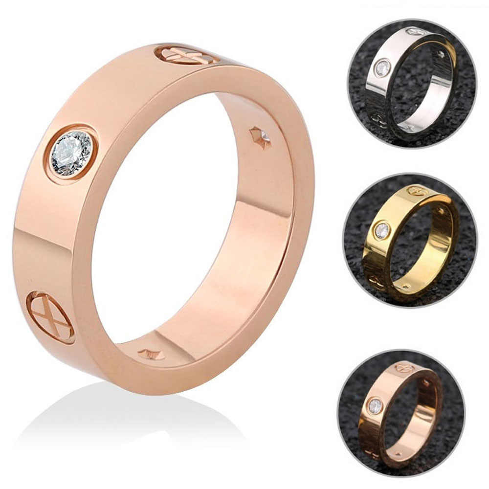 Screw Rings For Women Accessories Stainless Steel Men Jewelry Couple Engagement Rose Gold Female Crystal Finger Wedding Ring