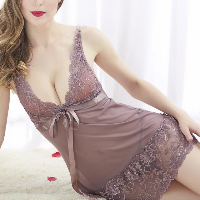 Lace Nightgown Women Sleepwear Pyjamas Homewear Babydoll Nightwear Sexy Lingerie Bathrobe Female Nightdress Home Clothes #W