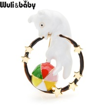 Wuli&baby Enamel Dog Brooch Playing Ball Circus Cute Pins For Women Christmas Gift Fashion Jewelry