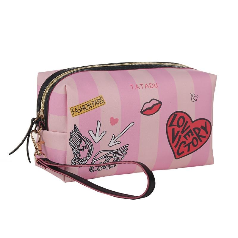 WULI SEVEN Portable 5 Colors Make Up Organizer Bag Toiletry Bathing Storage Bag Women Waterproof 3D Print PU Travel Cosmetic Bag