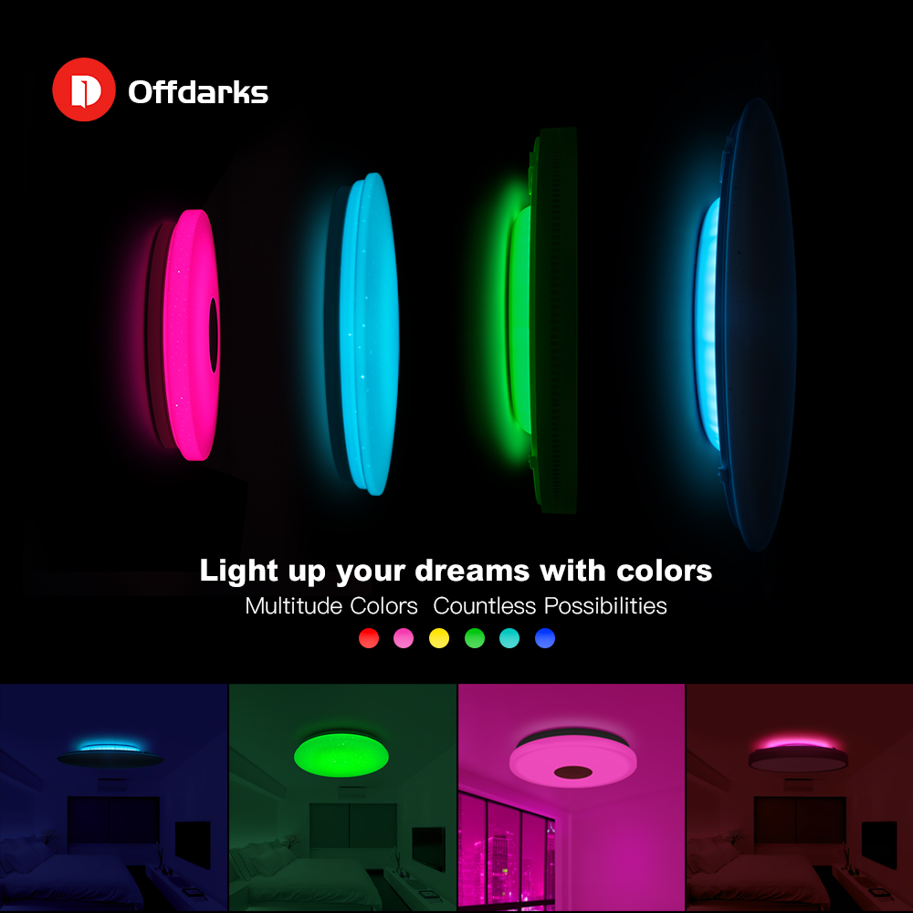 OFFDARKS Moderne LED Smart Decke Licht WiFi / APP Intelligente Steuerung Decke lampe RGB Dimmen 36W / 48W / 60W / 72W