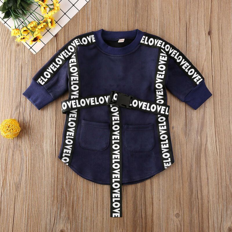 2020 Kids Baby Girl Clothes  Long Sleeve Sweatshirt Straight Dress With Belt Autumn Infant Toddler Casual Outfits 1-5T 1