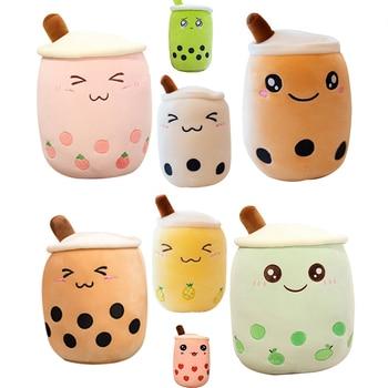 Plush Boba Tea Cup Toy Bubble Tea Pillow Cushion Cute Fruit Drink Plush Stuffed Soft Apple Pink Strawberry Milk Tea Kids Gift