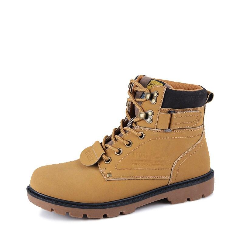 Botas de Gato Sapatos de Neve dos Homens Sapato de Couro Amarelo Homens Inverno Quente Tornozelo Bot Cowboy Coturno Botas Hombre Homem Motocicleta Casual 2020