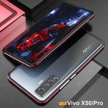 لامعة ل فيفو X50 الألومنيوم معدن جراب هاتف الإطار الفاخرة الوفير ل فيفو X50 برو الأصلي غطاء مع كاميرا حماية