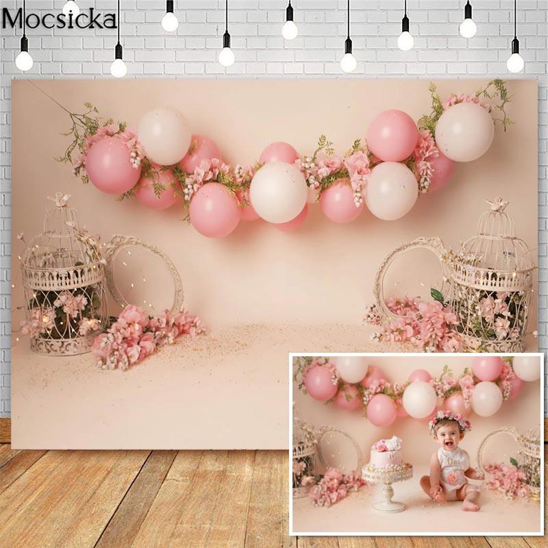 Spring Flowers Cake Smash Photography Backdrops Pink Balloon Bird Cage Decor Girl 1st Birthday Photocall Background Photo Studio