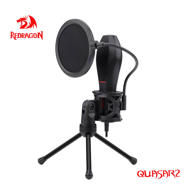 Redragon GM200 Quasar2 Omni USB Condenser Recording Microphone Tripod For Computer Cardioid Studio Recording Vocals Voice Over