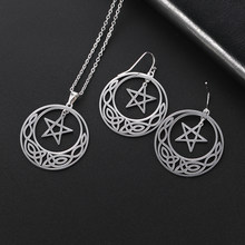 Skyrim Pentagram Irish Knot Stainless Steel Jewelry Set Black Gold Gothic Pendant Necklace Statement Dangle Earring Gift Women(China)
