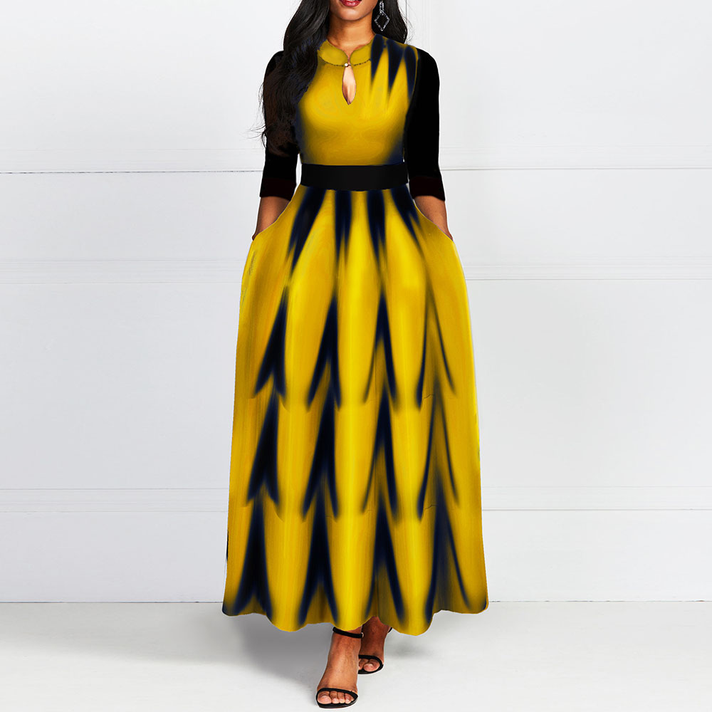 Yellow Long A Line Dress Elegant African 2020 Spring Print Office Lady Dinner Normal Women Dresses Robe Casual Fashion Vestiods