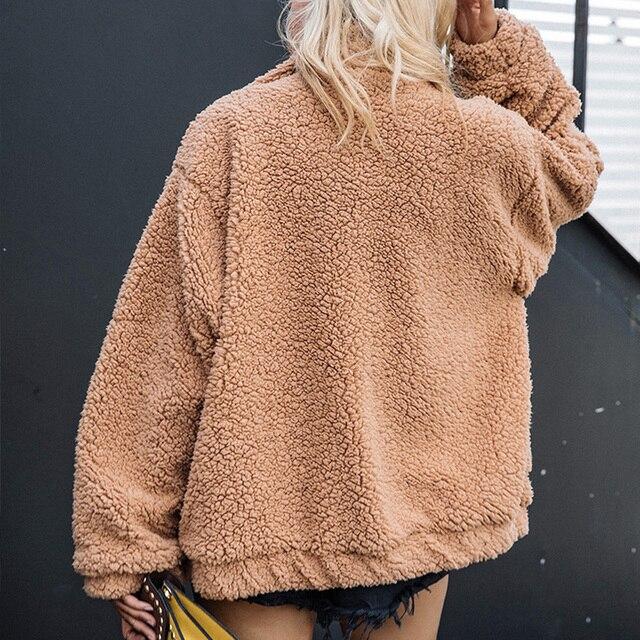 Fitaylor New Spring Women Teddy Bear Coat Stand Collar Loose Plush Jacket Zipper Solid Warm Outwear Faux Lamb Coats 3