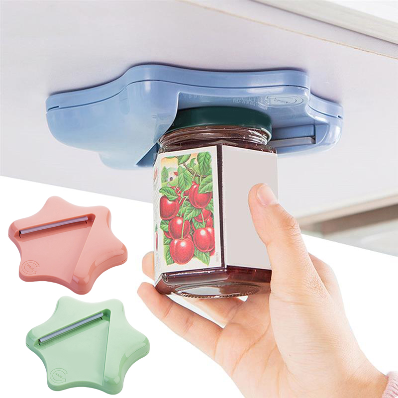 Can Opener Creative Bottle Opener Under The Cabinet Self-adhesive Jar Bottle Opener Top Lid Remover Helps Tired Or Wet Hand