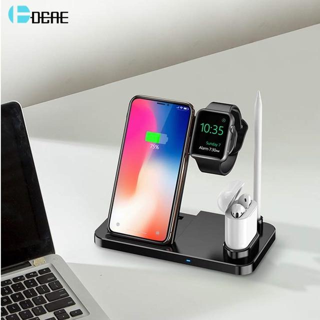 DCAE 4 in 1 kablosuz şarj Dock İstasyonu için Qi şarj standı Apple Watch iWatch için 5 4 3 2 1 airPods iPhone 11 XS XR X 8 Samsung