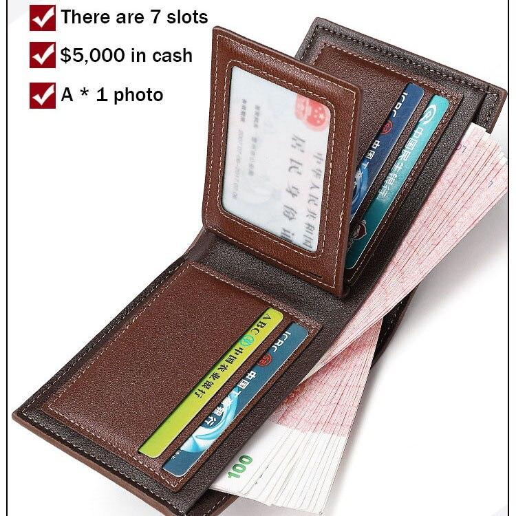 Купить с кэшбэком men's wallet Casual small carteiras wearproof dollar thin purse patchwork black/brown/coffee man wallet PU leather mini cuzdan