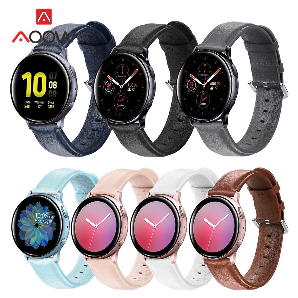 20mm 22mm Genuine Leather Strap For Samsung Galaxy Watch Active 2 42mm 46mm Gear S2 S3 Active2 Huawei Amazfit Bip Bracelet Band