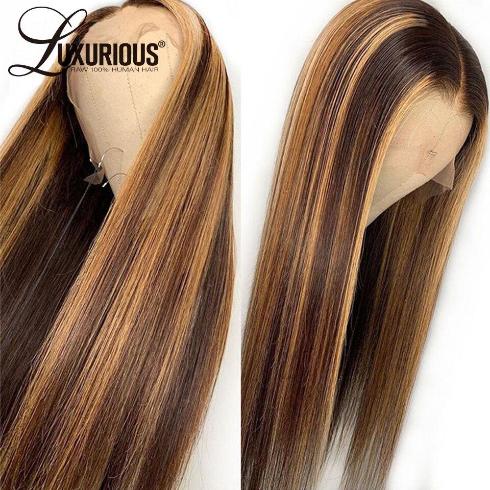 Brown 13x6 peruca dianteira do laço em linha reta mel loira brasileiro remy destaque ombre frente laço perucas de cabelo humano para as mulheres lixívia nós