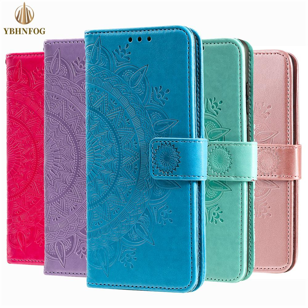 Mandala çiçek deri Flip Case Huawei P8 P9 Lite 2017 P10 P20 Lite 2019 P30 P40 Pro P akıllı 2020 cüzdan kart yuvaları kapak