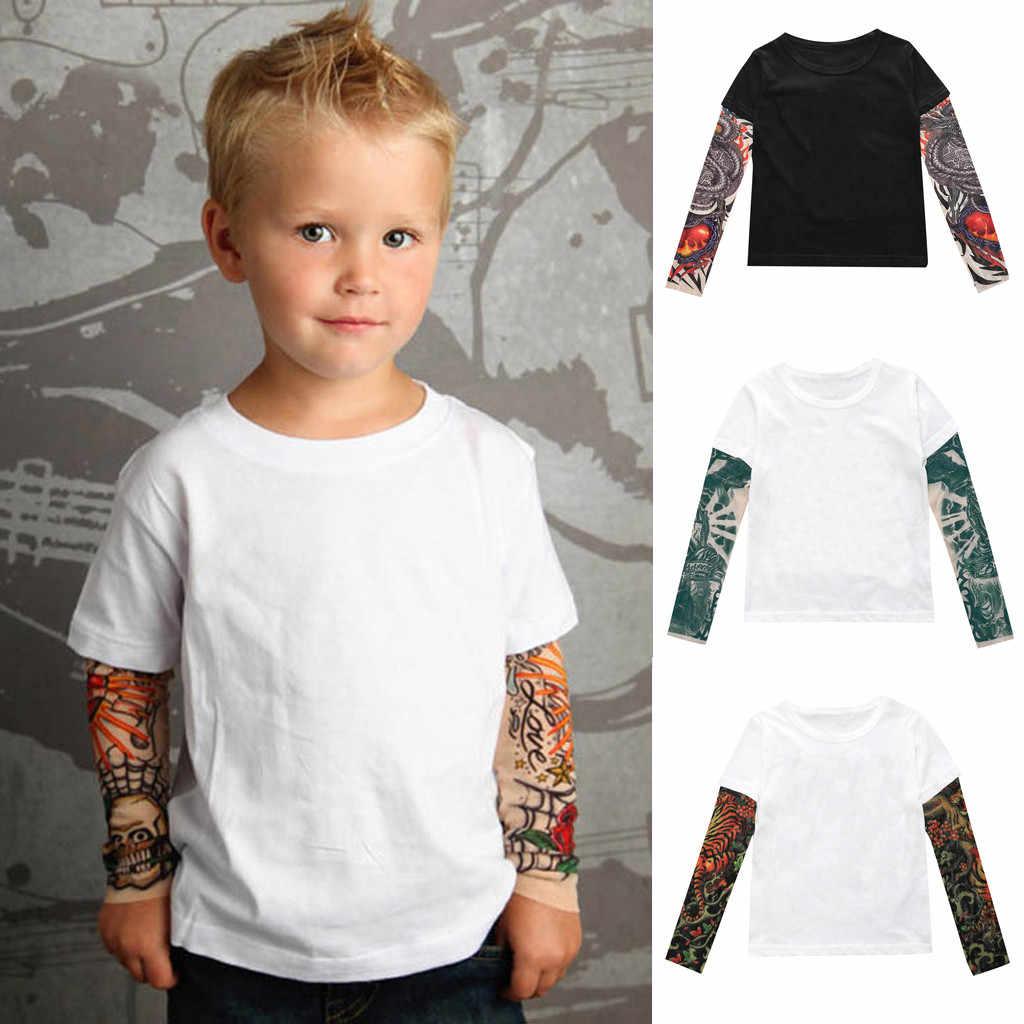 แฟชั่น 2019 เด็กวัยหัดเดินเด็กเสื้อผ้าเด็กแขนยาว O-คอเสื้อยืดตาข่าย Tattoo พิมพ์เสื้อ Tee Tops me contro te