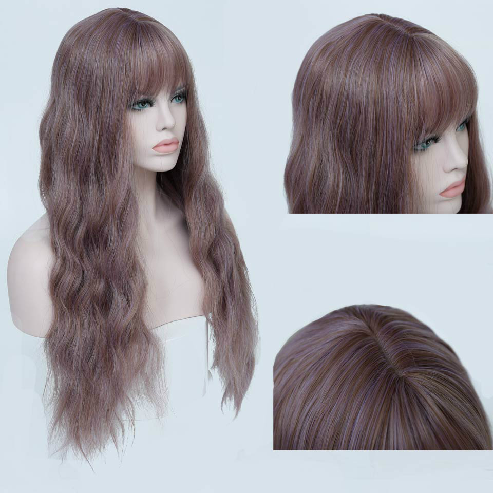 Allaosify 11 Colors Wavy Women Wig High Temperature Fiber Synthetic Wigs Long Hair Cosplay Wigs For Women Pink Wig With Bangs