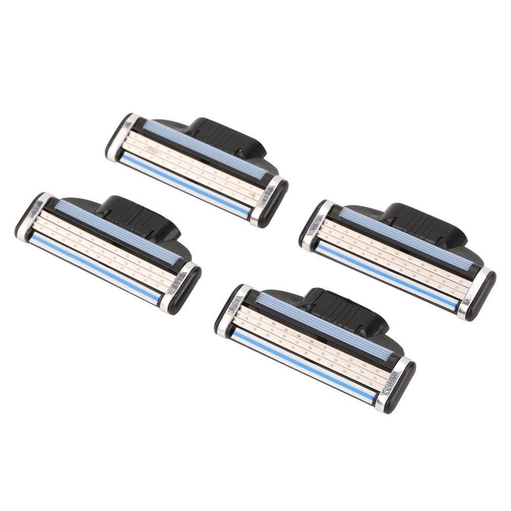 Replaceable Blade Three-Layer Manual Razor Blade Vintage Razor Manual Razor Replaceable Blade 4 Pieces