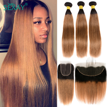 Sexay Dirty Blonde Hair 4 Bundles With Frontal Pre Plucked Remy Malaysian Human Hair Ombre Straight Weave With 4x4 Lace Closures