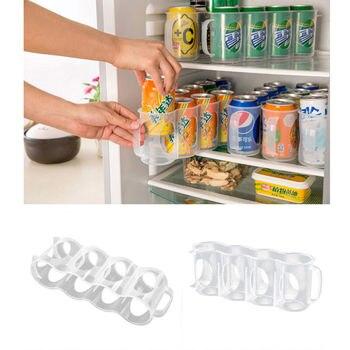 Latas de refrescos cervezas soporte de almacenamiento de cocina organización estante para la nevera espacio de plástico
