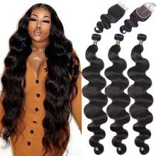 QT גוף גל חבילות עם סגירה ברזילאי שיער Weave 3 חבילות עם פרונטאלית שיער טבעי חזיתי עם צרור רמי הארכת שיער