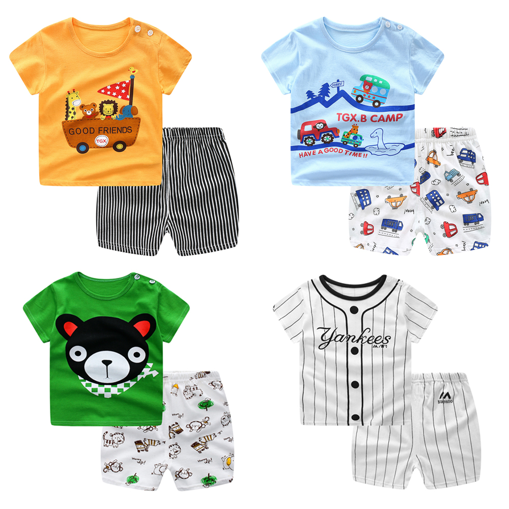 2020 Summer New Baby Boys Girls Clothes Suit Short Sleeve T-shirt 2pcs Sets Striped Kids Wear Clothing Children's Clothes
