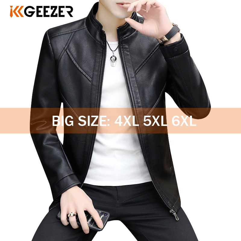 Leather Jacket Men Big Size 5XL 6XL Bomber Jackets 2020 Motorcycle Stand Collar Brown Coats Autumn Comfort High Quality Black