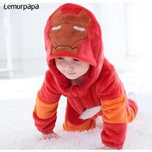 Iron Man Pagliaccetto Del Bambino Vestiti del ragazzo Tutina Neonato Costume Del Fumetto Divertente Freddo Indumenti Da Notte di Flanella Inverno Caldo Infantile Giocare Vestito
