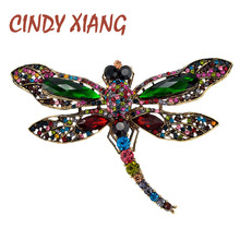 CINDY XIANG Rhinestone Large Dragonfly Brooches For Women Vintage Coat Brooch Pin Insect Jewelry 8 Colors Available Gift