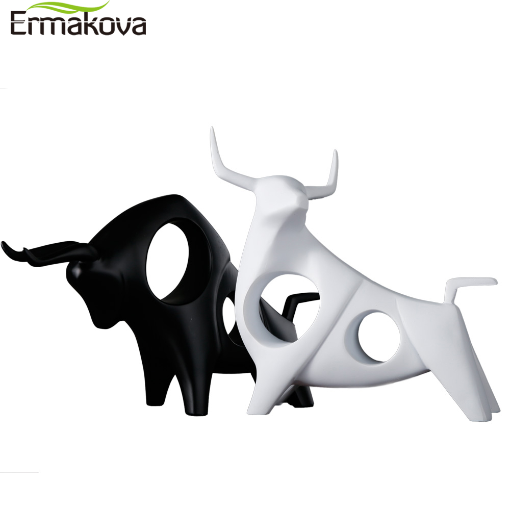 ERMAKOVA Cattle Statue Ox Home Decor Living Room Bull Sculpture Wine TV Cabinet Ornament Crafts Abstract Animal Figurine
